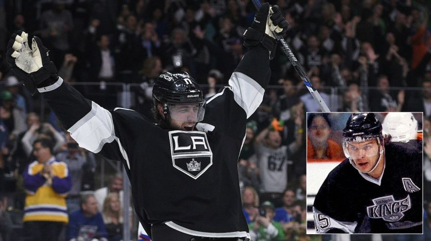 Anze Kopitar, golova radost, mix Jozef Stumpel, archivne foto, Los Angeles Kings, Mar2016