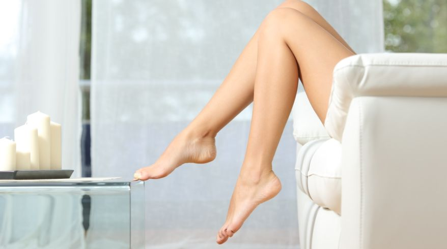 Perfect woman legs hair removal concept
